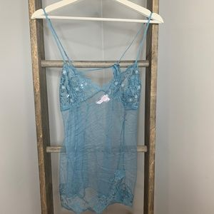 Victoria's Secret Blue Mesh Slip Nightie